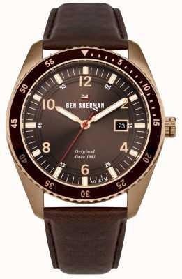 Ben Sherman Le cadran bronze sport bronze bronze affaire cuir marron WBS107TRG