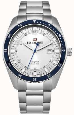 Ben Sherman Le sport Ronnie cadran blanc lunette bleue en acier inoxydable WBS107SM