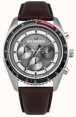 Ben Sherman Le chronographe ronnie gris sunray cadran en cuir marron WBS108BT