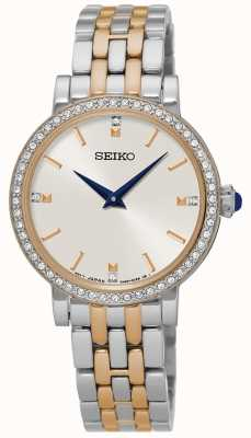 Seiko Womens deux tons bracelet en cristal ensemble SFQ810P1