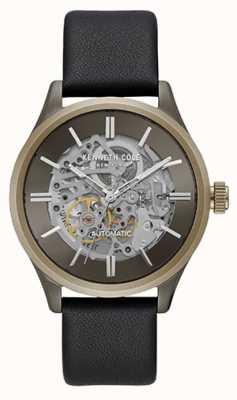 Kenneth Cole New York deux tons cadran squelette bracelet en cuir noir KC15171004