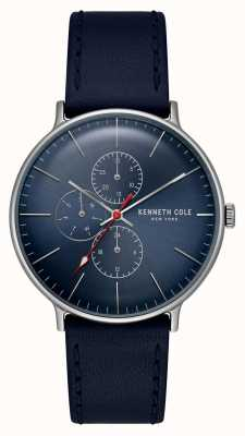 Kenneth Cole New York cadran bleu date affichage bracelet en cuir KC15189001