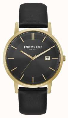 Kenneth Cole New York date affichage cadran noir or boîtier en cuir noir KC15202002