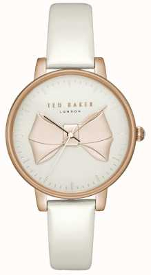 Ted Baker Womens brook or rose cadran arc or rose boîtier en cuir blanc TEC0185005