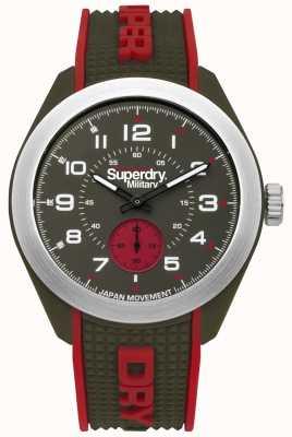 Superdry Navigator militaire rouge et vert deux tons bracelet en caoutchouc SYG214N
