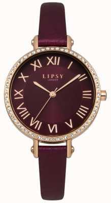 Lipsy Burgandy sunray cadran en or rose cristal set étui en cuir LP537