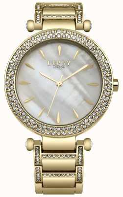 Lipsy Cadran en nacre cristal serti d'un boîtier et d'un bracelet en or pvd LP558