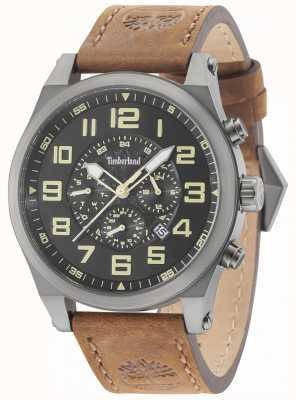 Timberland Tilden gun boîtier en métal gris bracelet en cuir marron 15247JSU/02