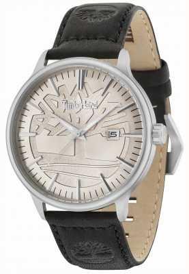 Timberland Edgemont cadran beige bracelet en cuir noir 15260JS/11