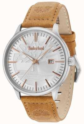 Timberland Edgemont cadran argenté bracelet en cuir beige 15260JS/04
