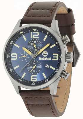 Timberland Cadran bleu Rutherford bracelet en cuir marron 15266JSU/03