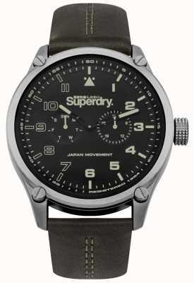 Superdry Bracelet en cuir kaki avec cadran teinté kaki SYG208BN