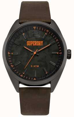 Superdry Bracelet camo imprimé en cuir marron SYG209BR