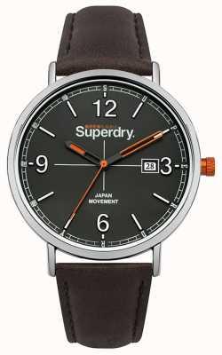 Superdry Cadran gris bracelet en cuir marron foncé SYG190BR