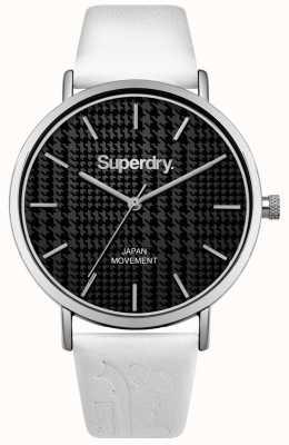 Superdry Bracelet en cuir blanc avec cadran noir SYL190BW