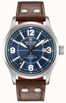 Swiss Military Hanowa Undercover cadran bleu foncé bracelet en cuir marron foncé 06-4280.04.003.10SI