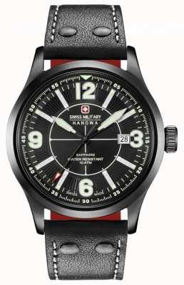 Swiss Military Hanowa Undercover cadran noir mat bracelet en cuir noir 06-4280.13.007.07.1