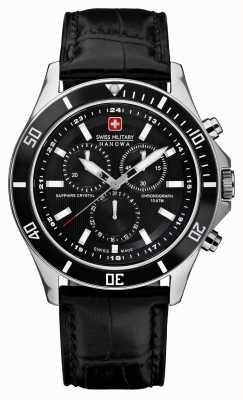 Swiss Military Hanowa Chronographe phare bracelet en cuir noir 6-4183.7.04.007