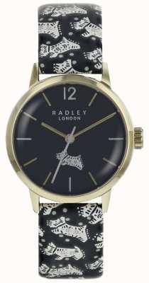Radley Womans folk dog noir cadran or pvd boîtier en acier inoxydable RY2570