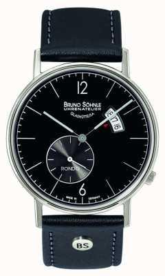 Bruno Sohnle Rondo grand 38mm quartz noir cadran jour et affichage de la date 17-13053-761