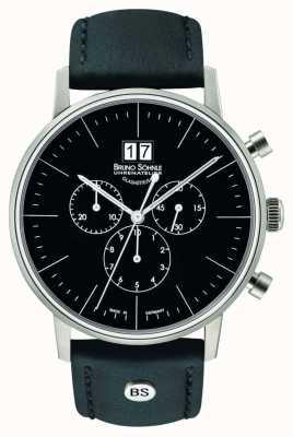 Bruno Sohnle Stuttgart chronographe 42mm quartz acier inoxydable cadran noir 17-13177-741