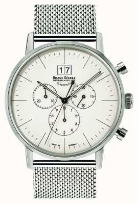 Bruno Sohnle Stuttgart chronographe 42mm quartz acier inoxydable cadran blanc 17-13177-240