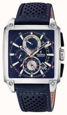 Festina Chrono bracelet en cuir cadran carré date affichage F20265/2