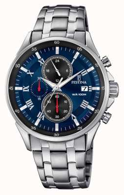 Festina Chronographe date affichage bleu bracelet en acier inoxydable F6853/2