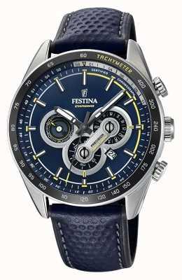 Festina Chronographe jour et date affichage cadran bleu en cuir bleu F20202/2
