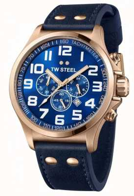 TW Steel Homme chronographe pilote bracelet en cuir bleu cadran bleu TW0407