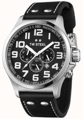TW Steel Homme chronographe pilote bracelet en cuir noir cadran noir TW413