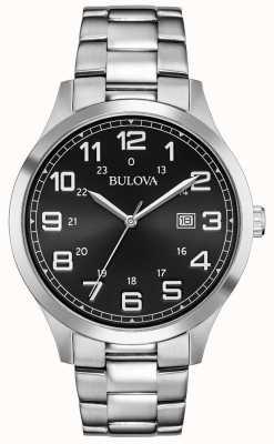 Bulova Date affichage noir face en acier inoxydable bracelet en métal 96B274