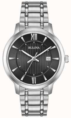 Bulova Date affichage noir face en acier inoxydable bracelet en métal 96B278