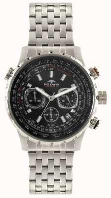Rotary Bracelet chronographe homme en acier inoxydable avec cadran noir GB00185/04