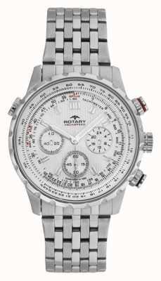 Rotary Bracelet chronographe homme en acier inoxydable avec cadran blanc GB00175/06S