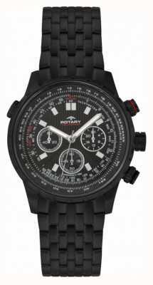 Rotary Chronographe homme noir ip acier noir cadran GB00177/04S
