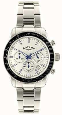 Rotary Bracelet homme chronographe en acier inoxydable cadran blanc GB00470/01