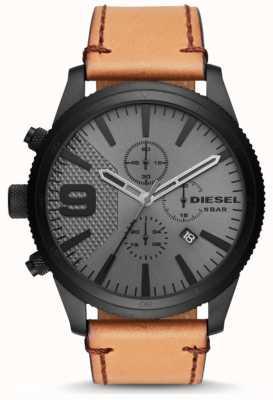 Diesel Mens râpe chronographe 50mm bracelet en cuir beige DZ4468