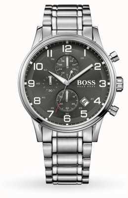 Hugo Boss Aeroliner date affichage gris cadran bracelet en acier inoxydable 1513181