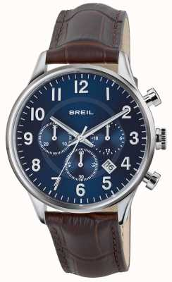 Breil Contempo chronographe en acier inoxydable cadran bleu bracelet marron TW1576