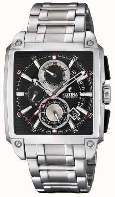 Festina Chronographe cadran carré date affichage bracelet en acier F20264/3