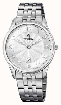Festina Cadran à motifs classique en acier inoxydable bracelet cadran argenté F6856/1
