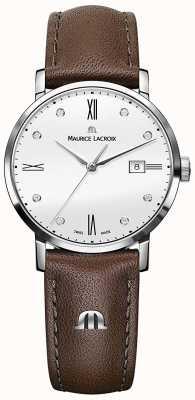 Maurice Lacroix Eliros diamond set montre en cuir marron EL1084-SS001-150-2