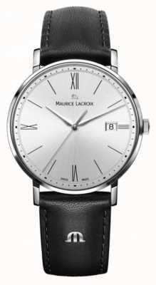 Maurice Lacroix Montre femme eliros en cuir noir et argent EL1084-SS001-110-1