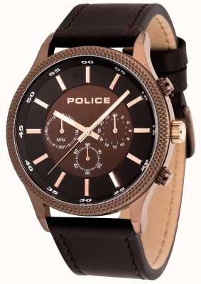 Police Montre homme en cuir marron 15002JSBN/12