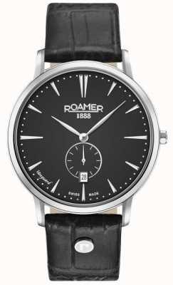 Roamer Mens vanguard ligne mince petit deuxième bracelet en cuir noir 980812415509