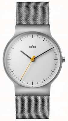 Braun Mens classique mince bracelet cadran blanc en maille BN0211WHSLMHG