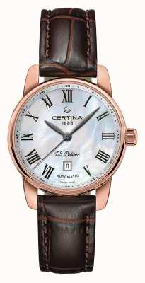 Certina | ds podium | dame automatique | cuir marron or rose | C0010073611300