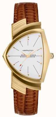 Hamilton Montre à bracelet en cuir marron Ventura avec boîtier en or H24301511