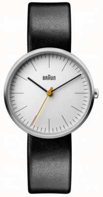 Braun Bracelet en cuir noir pour femme avec cadran blanc classique BN0173WHBKL